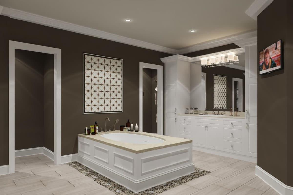 Landelijke badkamer met spanplafond